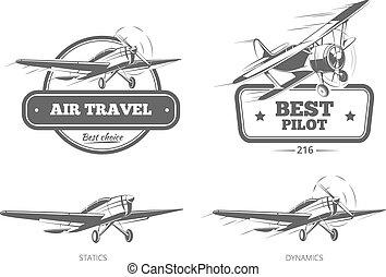 insignes, logos, étiquettes, vecteur, aviation, emblèmes