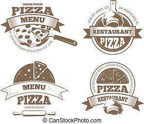 insignes, logos, icônes, étiquettes, emblèmes, vecteur, retro, pizzeria, pizza