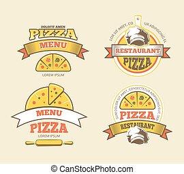 insignes, logos, restaurant, nourriture, étiquettes, jeûne, emblèmes, vecteur, pizza