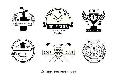 insignes, prime, club, vendange, tournoi, illustration, étiquettes, ensemble, vecteur, conception, concurrence, fond, jouer golf, logo, blanc, sport, ou, golf, retro