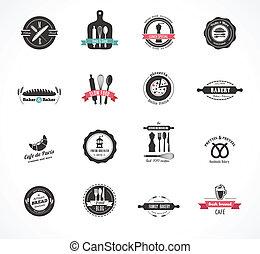 insignes, restaurant, nourriture, vendange, étiquettes, ensemble