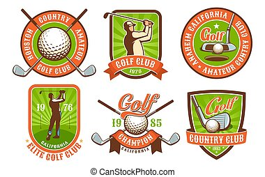 insignes, vendange, logos, club, ensemble, golf