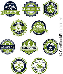 insignes, voyage, ou, camping, icônes
