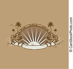 tropical ocean coast - insignia and banner. Surice on the...