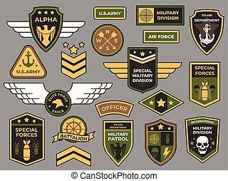insignia, badges., jogo, força, remendos, exército, sinal, pára-quedista, capitão, vetorial, remendo, militar, ar, emblema