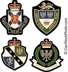 insignia, clásico, emblema, protector, real