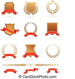 Insignia collection - Banners, badges, laurels and ribbons