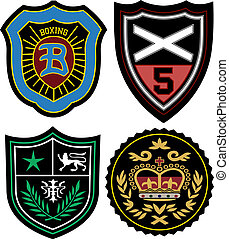 insignia, conjunto, emblema, policía