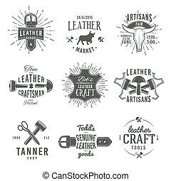 insignia, conjunto, genuino, cuero, herramienta de la vendimia, diseños, artesano, gris, ilustración, segundo, arte, vector, labels., artesano, logotipo, mercado, retro