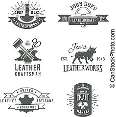 insignia, conjunto, genuino, cuero, herramienta de la vendimia, diseños, gris, ilustración, artesanos, arte, vector, labels., logotipo, primero, mercado, retro