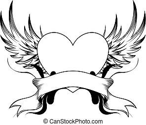 insignia, coração, tatuagem
