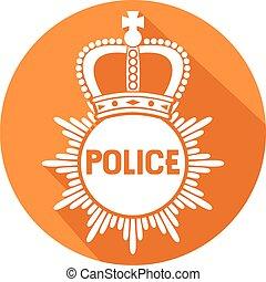 insignia de la policía, plano, icono