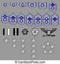 insignia, fuerza, nosotros, grado, aire
