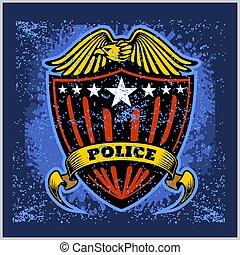 insignia, grunge, vector, protector, policía, fondo.,...