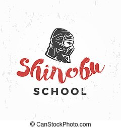 insignia, guerrero, escuela, badge., arte, ninja, vendimia, ...