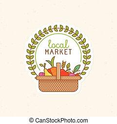 insignia, local, -, lineal, vector, mercado