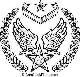 insignia, militar, força, nós, ar