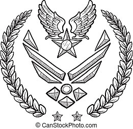 insignia, militar, fuerza, nosotros, aire