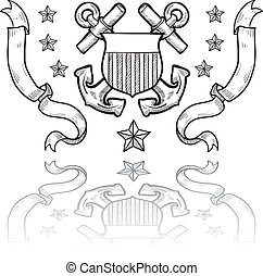 insignia, militar, guarda, costa