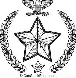 insignia, militar, nosotros ejército
