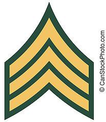 insignia, norteamericano, sargento, grado