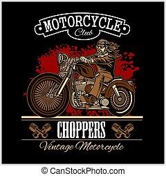 insignia, o, clásico, biker, ilustración, tema, label., motocicleta