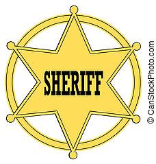 insignia, oro, oeste viejo, alguacil, estrella