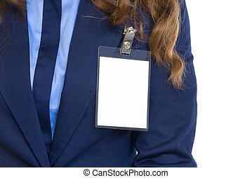 insignia, pecho, mujer, primer plano, empresa / negocio