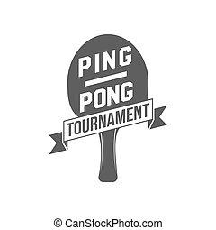 insignia, ping, elementos, pong, etiqueta, emblema, diseñado