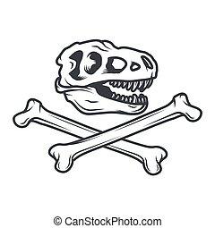 insignia, prehistoria, illustration., jurásico, dinosaurio, ...