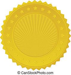 insignia, sello oro