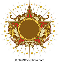 Insignia - star shaped . Blank so you can add your own images. Vector illustration.