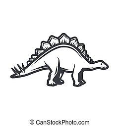 insignia, stegosaurus, concepto, illustration., jurásico, ...
