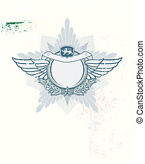 Insignia - star shaped with banner on the grunge background....