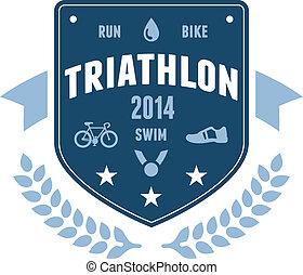insignia, triatlón, emblema, diseño