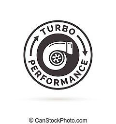 insignia, turbo, coche, estampilla, símbolo., turbocharger, icono, rendimiento, compresor