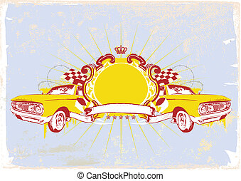 Insignia - two retro cars with banner. Blank so you can add your own images. illustration with grunge background