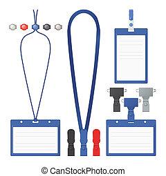 insignia, vector, lanyard, clip, templates.