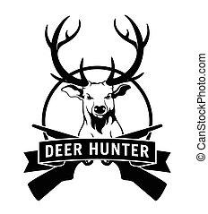 insignia, venado, cazador, etiqueta