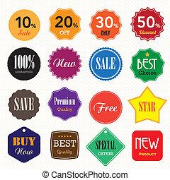 insignias, conjunto, empresa / negocio, labels., vendimia