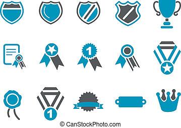 insignias, icono, conjunto
