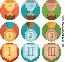insignias, -, oro, vector, bronce, plata, logro