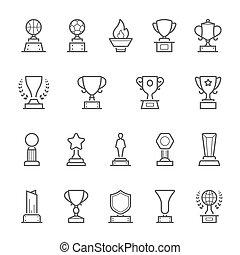 insignias, premios, contorno, golpe, icono