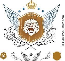 insignie, bevinget, anføreren, skjold, løve