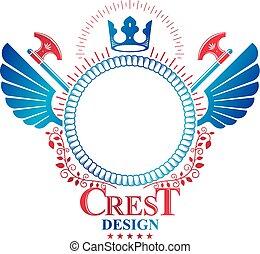 insignie, grafik, bevinget, vinhøst, heraldiske, økser, pattern., kejserlig krone, arme, vektor, belægge, blomstrede, skarp, lavede, logo.