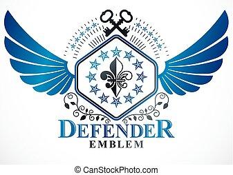 insignie, heraldik, blomst, elementer, oprett, bevinget, heraldiske, kongelige, nøgler, bilagt, tegn, vektor, vector., bruge, gamle, lilje, symbol