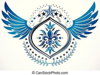 insignie, heraldik, lavede, elementer, bruge, bevinget, heraldiske, krans, tegn, femkantede, vektor, stjerner, laurbær, blomst, dekorer, lilje