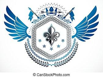 insignie, lavede, blomst, oprett, bevinget, vinhøst, bekranse, vektor, konstruktion, retro, stjerner, bruge, monark, lilje, elementer