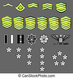 insignie, os, rang, hær