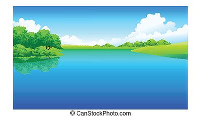 insjö, och, grönt landskap